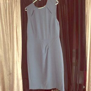 Chalky blue sleeveless mid length dress